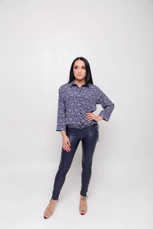 Женская рубашка Юлия тёмно-синяя принт огурцы
