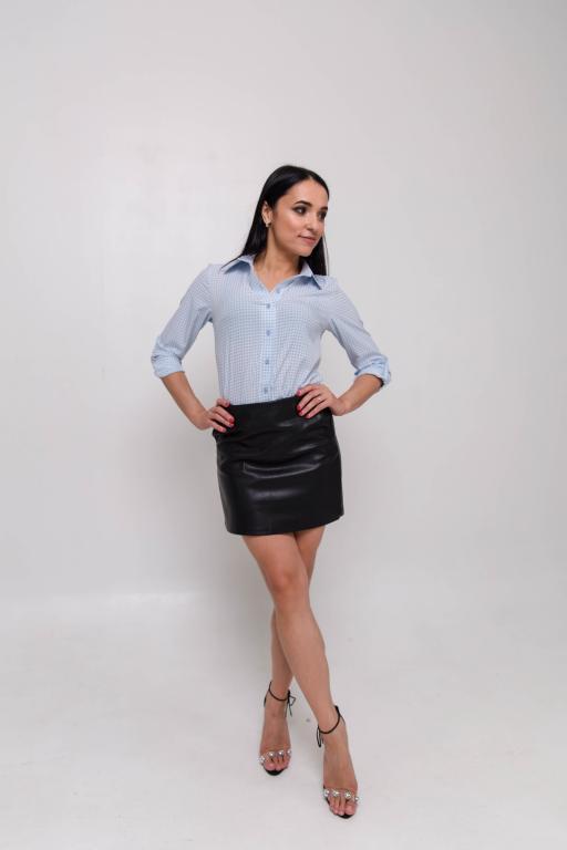 Женская рубашка голубая принт гусиная лапка
