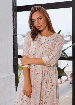 Платье Анита XL-XXL бежевое с цветочным принтом
