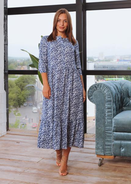 Платье Анита XL-XXL синее с цветочным принтом