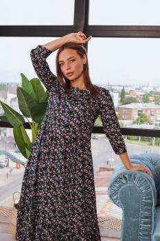 Платье Анита XL-XXL черное с цветочным принтом