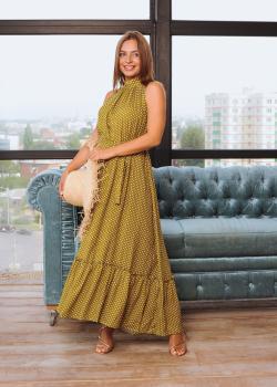 Женское летнее платье Лика горчичное в горошек