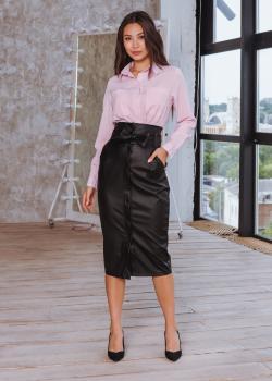 Женская юбка на кнопке черная
