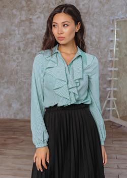 Женская блузка Элла бирюзовая в горох