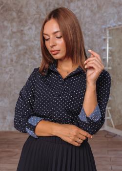 Рубашка Слава дизайн тёмно-синяя с принтом мелкий горох