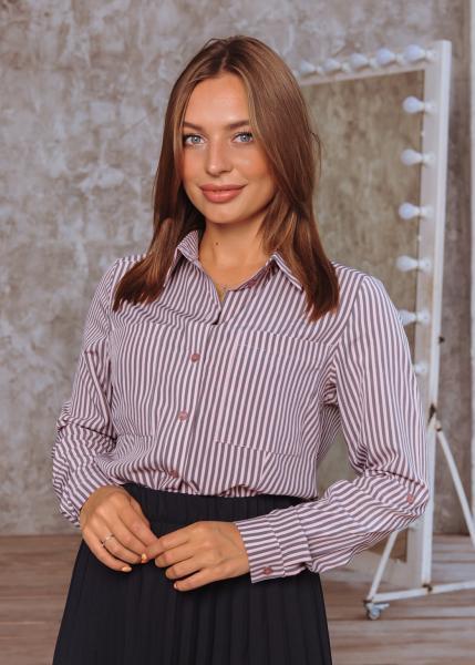 Женская рубашка Оскар розовая с серым полоска