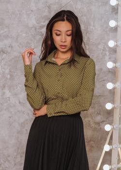 Рубашка Слава дизайн оливковая с принтом мелкий горох