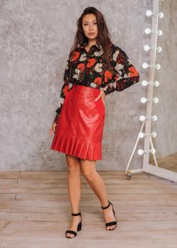 Женская рубашка Ария черная с цветочным принтом