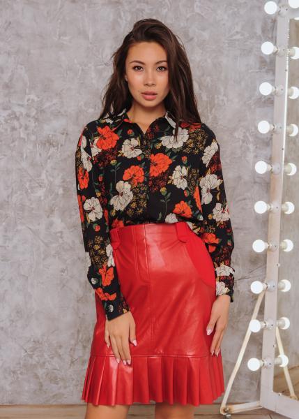 Женская рубашка Ария цвет черный цветочный принт