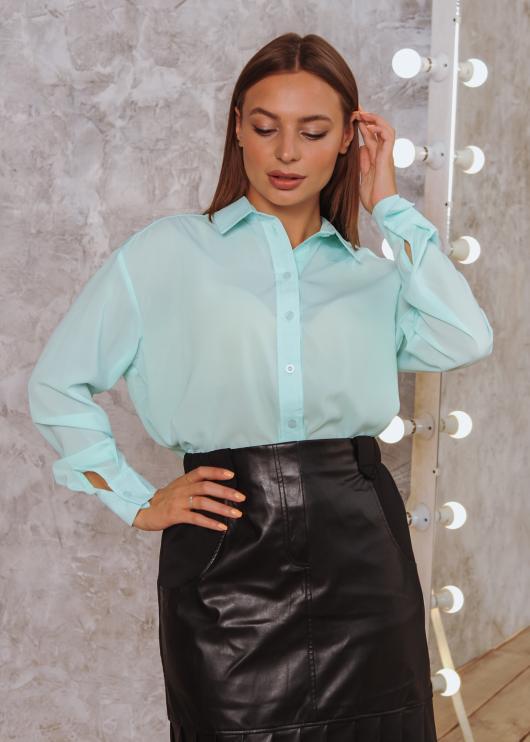 Женская рубашка Ария светло-голубая