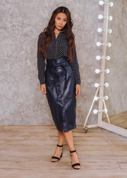 Женская юбка на кнопке тёмно-синяя