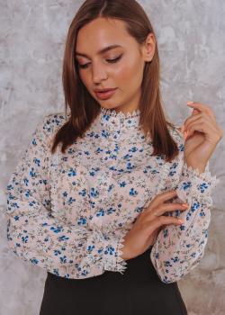Женская рубашка Кристина молочная с цветочным принтом