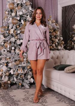 Женский нарядный комбинезон розовый