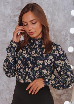 Женская рубашка Кристина черная с цветочным принтом