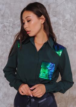 Рубашка Элла темно-зеленая