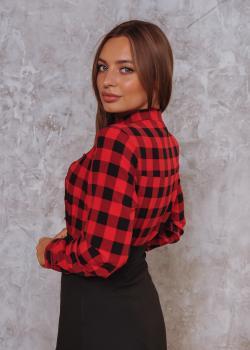 Женская рубашка Дана цвет красный в клетку