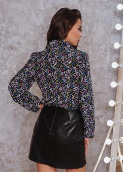 Женская рубашка Рита черная с цветочным принтом