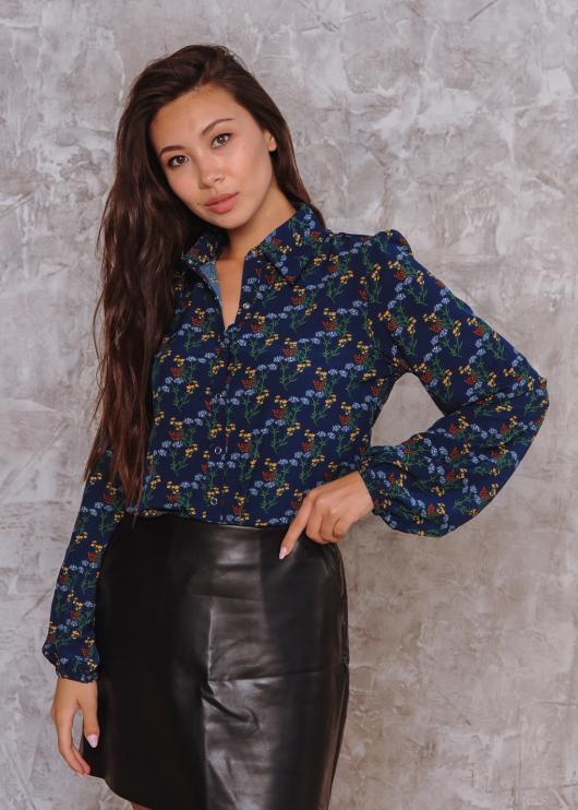 Женская рубашка Рита цвет темно-синий с цветочным принтом