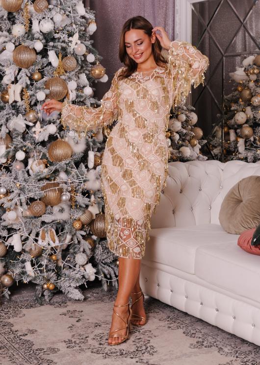 Платье вечернее торжественное золотое с пайеткой