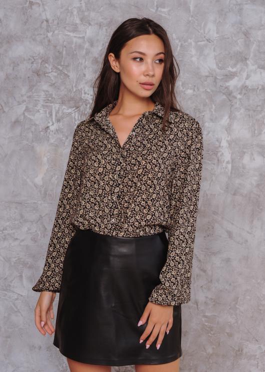Женская рубашка Рита коричневая с принтом