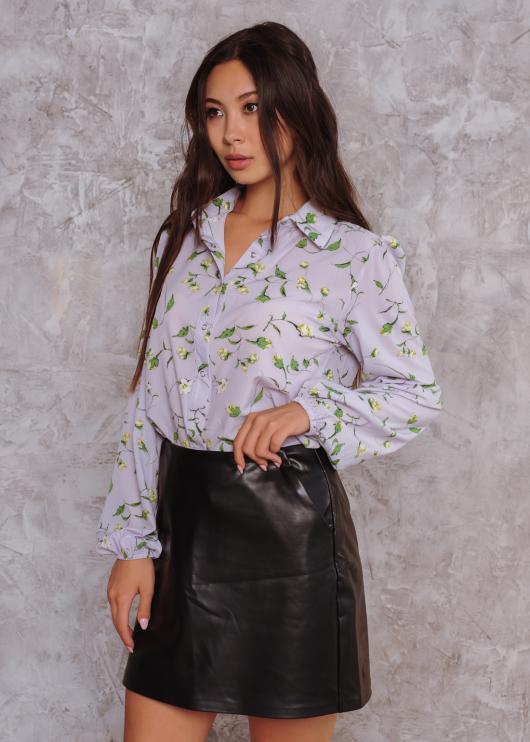 Женская рубашка Рита белая с цветочным принтом