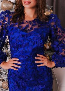 Платье миди вечернее торжественное синее обшитое цветами