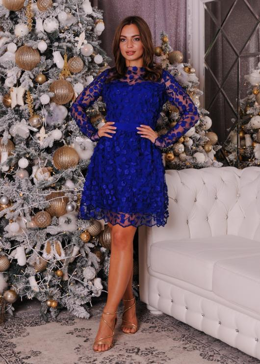 Платье мини вечернее торжественное синее обшитое цветами
