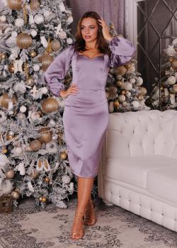 Шелковое женское платье цвет сиреневый