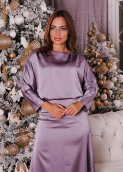 Элегантное женское платье цвет сиреневый