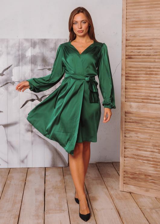 Платье Ирис на запах зеленое