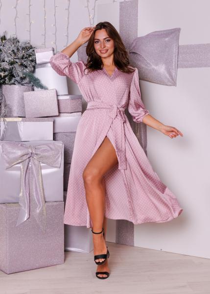 Платье Марго розовое в горох