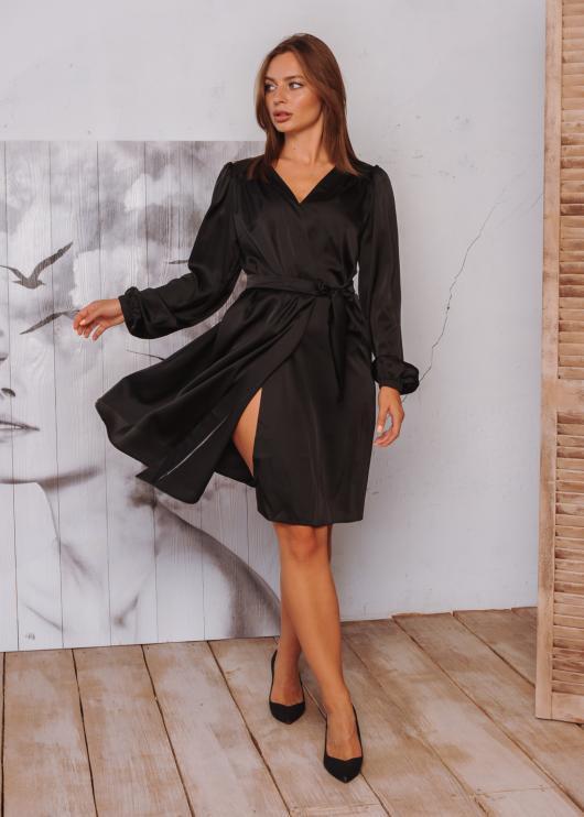 Платье Ирис на запахи черное