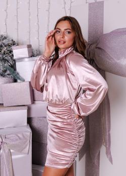 Платье коктейльное велюровое розовое