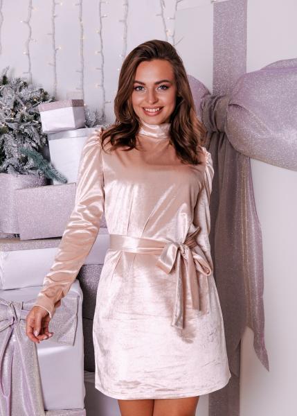 Платье коктейльное велюровое айвори