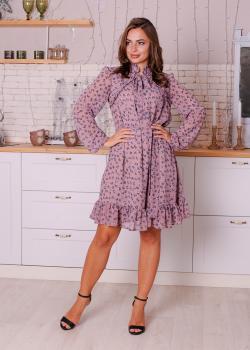 Женское платье Рюша пудра с цветочным принтом