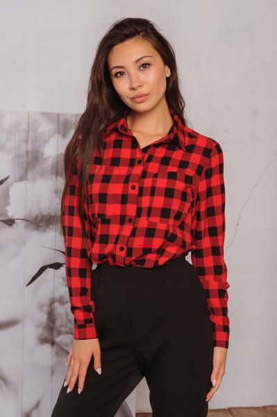 Женская рубашка Оскар красно-черная шахматка