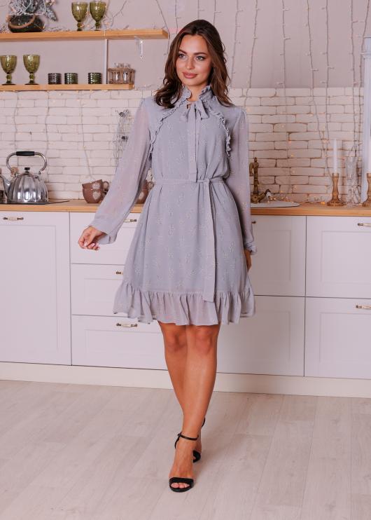 Женское платье Рюша серое с цветочным принтом
