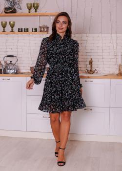 Женское платье Рюша чёрное цветочный принт