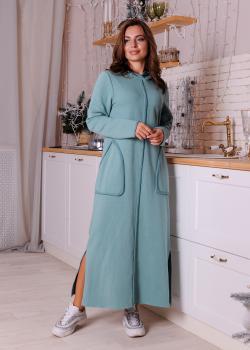 Утепленное платье Кармен с капюшоном зеленое