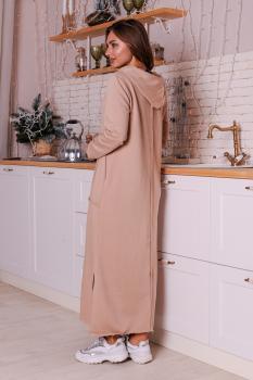 Утепленное платье Кармен с капюшоном бежевое