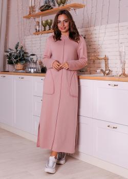 Утепленное платье Кармен с капюшоном розовое