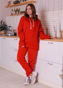 Женский костюм спортивный Клин (худи + штаны) красный