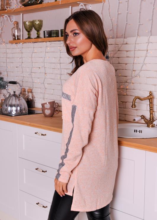 Женская удлинённая кофта цвет персиковый