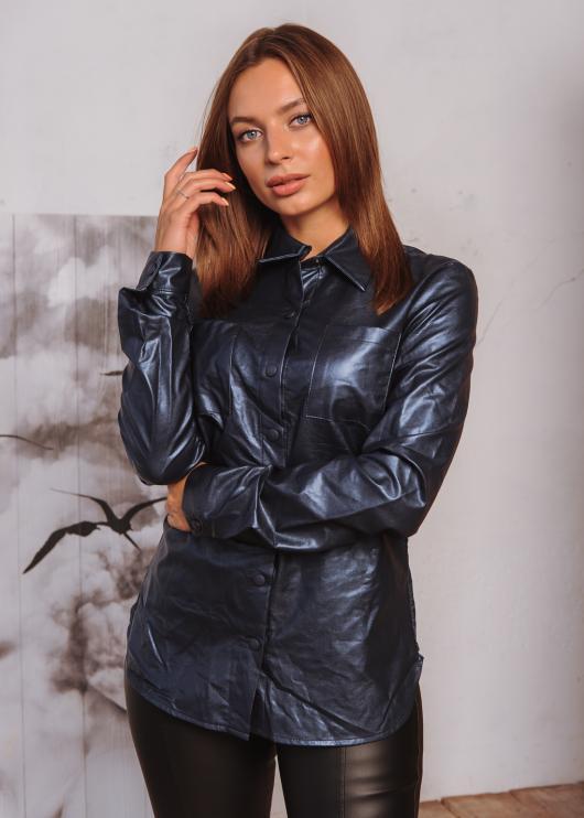 Женская рубашка Жужа из эко-кожи а кнопке цвет тёмно-синий