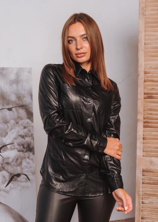 Женский пиджак Жужа из эко-кожи а кнопке цвет черный