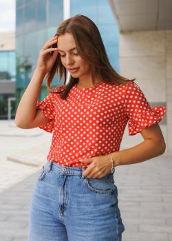 Женская блузка Мира красная в горох