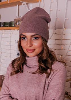 Женская шапка коричневая