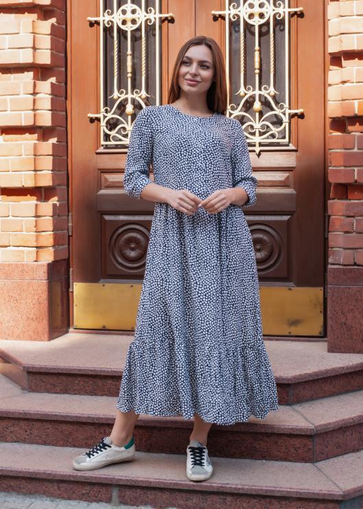 Платье Анита синее с принтом цветочный