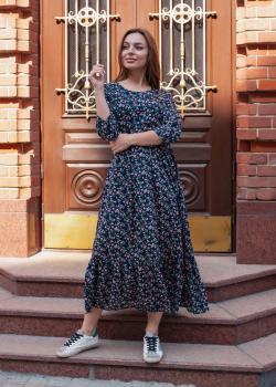 Платье Анита тёмно-синее с цветочным принтом