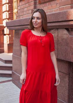 Женское хлопковое платье красное